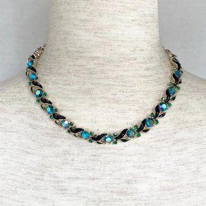 VTG Gold Lisner Peacock AB Blue Green Crystal Rhinestone Enamel Collar Necklace